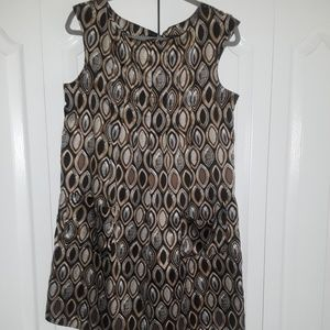 **Pre Loved** Satiny Blk/brwn/wht Sleeveless dress
